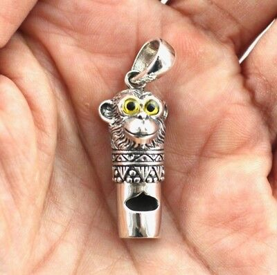 Victorian Style Monkey Whistle Pendant 925 Sterling Silver Dog