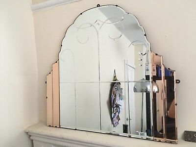 LARGE vintage ART DECO ARCH MIRROR with peach panelling and window etching