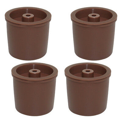 4x Durable Reusable Plastic Filters Refillable Coffee Capsules Pod Cup Brown