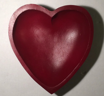 Hand-Carved-Painted Red Heart-Shaped Rustic Country Wood/wooden Bowl/candy Dish
