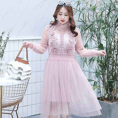 LADY LACE FLORAL Dress Hollow Out Puff Sleeve Mesh Fairy Lolita Plus Size  Casual