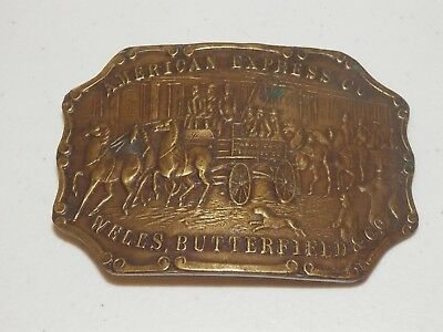 American Express Co. Wells, Butterfield & Co. Belt Buckle Brass Vintage