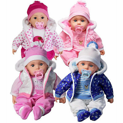 """Soft Bodied Large Size 20"""" Lifelike Girls Boys Baby Toy Doll With Dummy & Sounds"""