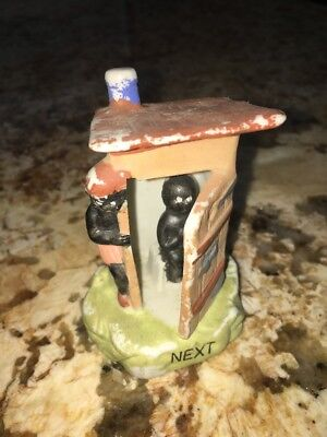 """VINTAGE CERAMIC OUTHOUSE Kid WAITING TO BE """"NEXT"""" JAPAN"""