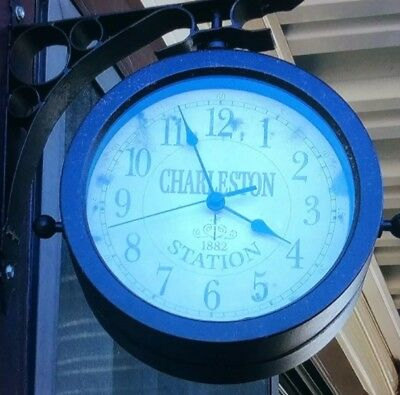 Train Station Wall Clock Vintage Retro Double Sided Metal Two Faces Thermometer