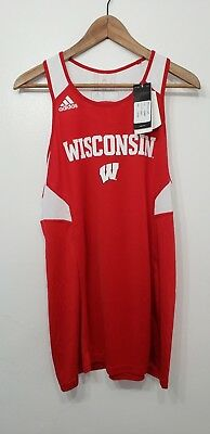 the best attitude 32576 ad4ed ADIDAS CLIMALITE UNIVERSITY of Wisconsin Badgers Basketball Jersey sz Large