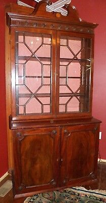 1790-1800 Hepplewhite Mahogany Period English CHINA CABINET cupboard Inlaid