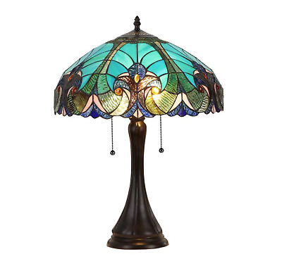Vintage Reading Lamp Accent Small Stained Glass End Table Chloe Tiffany Antique