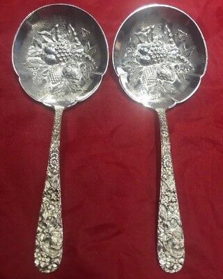 ONE Kirk & Son Solid Sterling Silver Repousse Ornate Berry Serving Spoon 5 1/4""