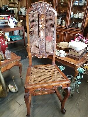 19th century caned chair with bone inlay