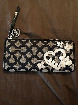4b6192ef COACH POPPY SIGNATURE Wallet Black and Grey with Silver Heart and Flower  Details