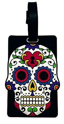 Day of the Dead Luggage Tag White & Black Sugar Skull Travel Name Tag