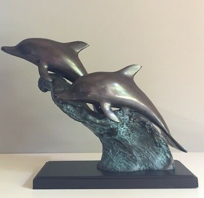 Vintage Bronze Brass Cast Dolphins Swimming Waves Statue