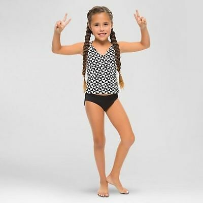 0bdbe74eb4 New Vanilla Beach Girls' Tankini Swimsuit Top Scallop Trim Black White Sz M