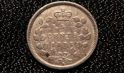 1872 Canada Silver 5 Cents Coin - NICE 92.5% SILVER Canadian 5¢ Piece!