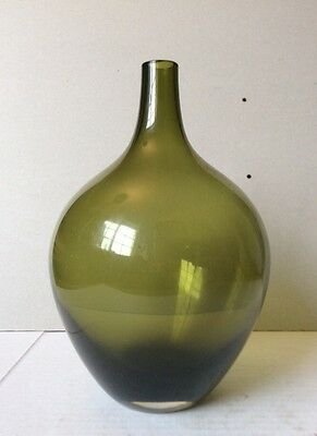 "Gorgeous Vintage Greenish Art Blown Glass Fask Bottle/Vase 8"" Tall"