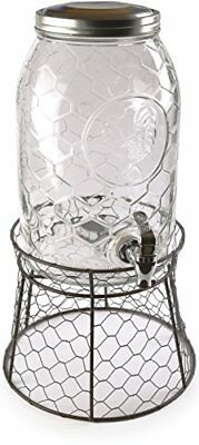 Circleware 69142 Rooster Glass Beverage Drink Dispenser with Stand and Metal Lid