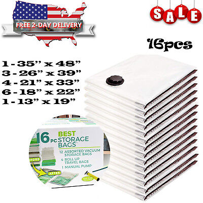 16pcs VACUUM SEAL Storage Bags Space Saver Garment Jumbo Large Bags New