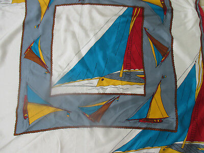 VINTAGE CASCA NAUTICAL SAILBOAT HAND ROLLED SILK PICTURESQUE SCARF 35 x 35
