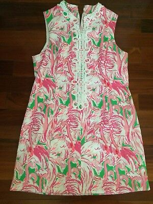 30af8f6690c632 LILLY PULITZER Alexa Dress Size 14 prep Pink and Green Flamingo colony lace