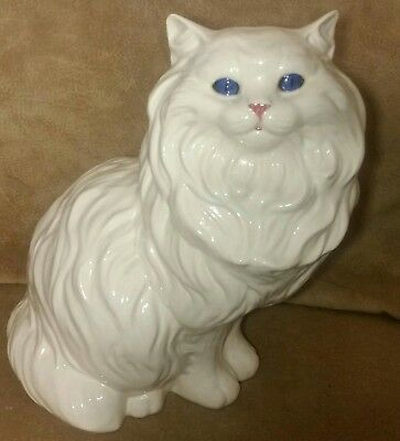 "Vtg Large 14.5"" Tall Ceramic White Persian Cat with Beautiful Blue Eyes Perrfect"