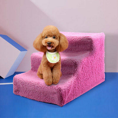 3 Steps Pet Stairs Ladder Indoor Cat Dog Ramp Ladder W/Cover Pink