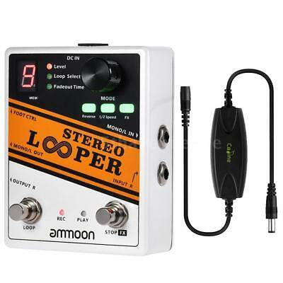 STEREO LOOPER Loop Record Guitar Effect Pedal 10 Independent w/Noise Filter J2C5