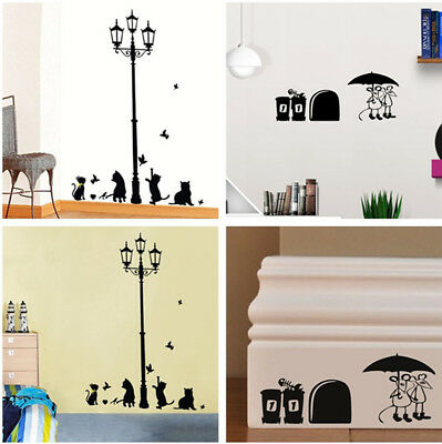 Funny Mouse Hole / Street Lamp Cat Wall Sticker Decal Removable Mural Home Decor