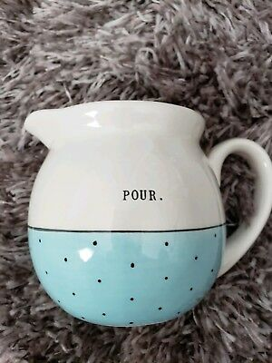 "Rae Dunn Small ""Pour"" Pitcher White And Blue by Magenta"