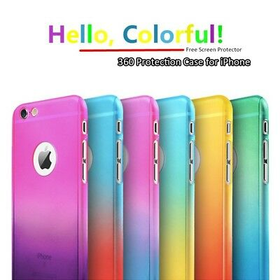 XHCOMPANY Colorful Full Body 360 Protect PC Case for iPhone 8/8 Plus/7/7 Plus/6