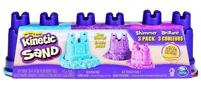 🚛 Fast Shipping! {NEW} Kinetic Sand Shimmering Multipack With Molds 3 Colors