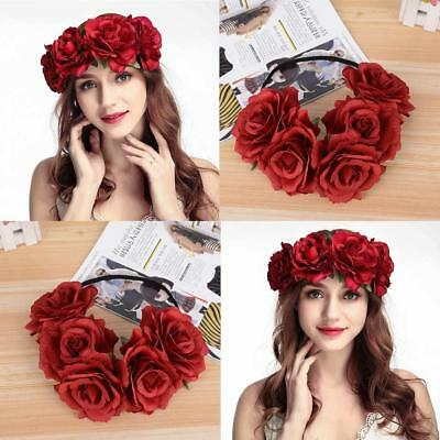 Party Floral Rose Flower Headband Hair Crown Festival Boho Garland Large Big