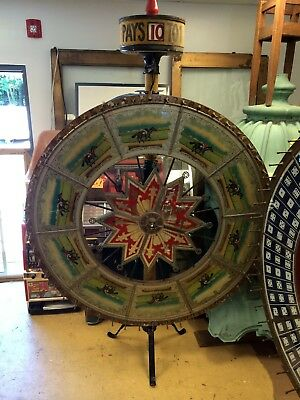 Fine H.C. Evans Antique Horse Racing Antique Gaming Wheels w Crate --- Gambling