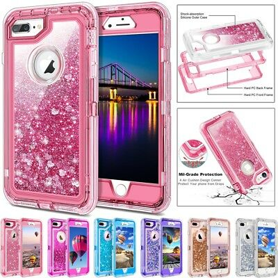 XHCOMPANY For iPhone Plus Case Glitter 3D Bling Sparkle Flowing Liquid Quicksand