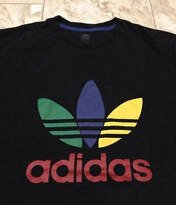 Vintage Adidas Originals Multi Color Trefoil Logo T Shirt Size Men S Large