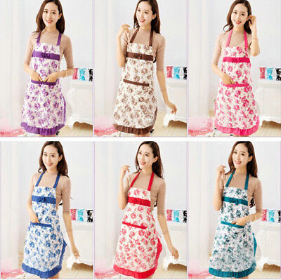 Kitchen Jeanette Aprons Women's Waterproof Waist Convenient Housewife Floral