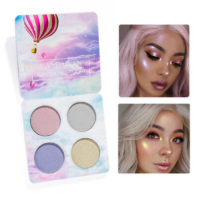 4Color Highlighter Palette Face Contour Makeup Shimmer Eyeshadow Cosmetic Top