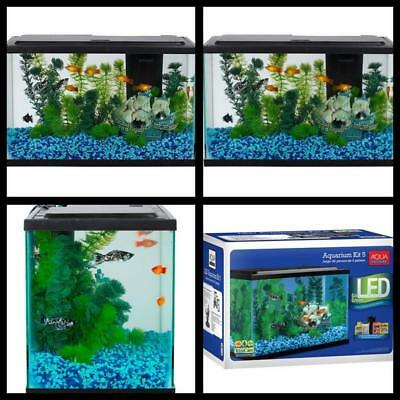 Aqua Culture Aquarium Fish tank Starter Kit with LED Lights 5 Gallon Free Ship