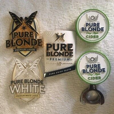 Pure Blonde Beer Lager Cider Metal/Plastic Tap Badge Decal Ex-Pub Stock Top RARE
