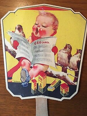 Vintage 666 Advertising Fan Featuring The 666 Bird Quartette