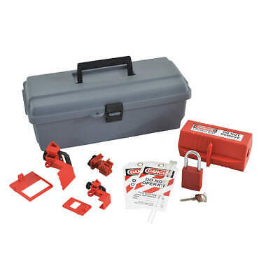 BRADY Portable Lockout Kit,Filled,8 Components, 95540, Gray