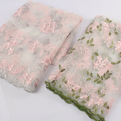 Design net fabric embroidered green leaves flower mesh wavy lace fabric by yard