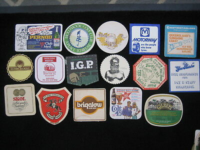 Bar Coasters x 16, Various Brands, Vintage Double Sided Mancave Drink Mats