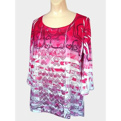 ca3effb7242 STYLE & CO. Love Hearts & Stripes Sequin Tunic Top High-Low Hem Pink ...