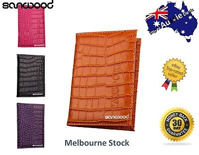 Alligator Embossing Faux Leather Passport Holder ID Card Ticket Organizer Case