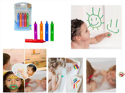 First Steps Pack of 5 Baby Bath Crayons for Fun in Bath - Non Toxic Bath Toys UK