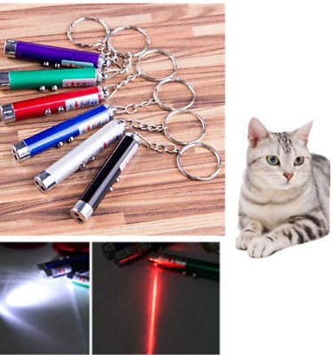 Red Light Laser Pen Lazer Pointer Toy LED Light Beam Keychain Pet Cat Kitten Toy