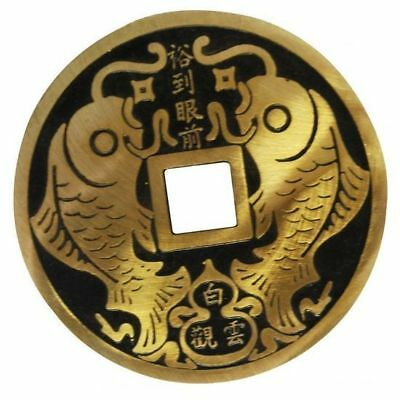 Gold Plated Metal Chinese Fortune Coins 80mm Premium Feng Shui Lucky
