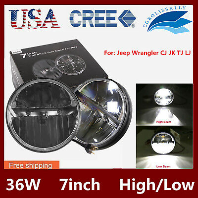 2X 7inch Round 36W CREE LED Projector Headlight Hi/Low Beam JEEP Wrangler JK TJ