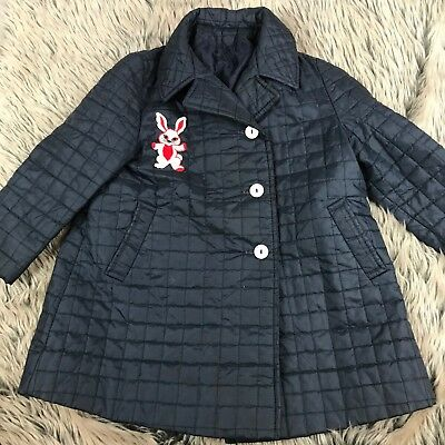 Vtg 60s Quilted Girls Coat Bunny Embroidery Rabbit Blue Navy Curtsy Coats Youth